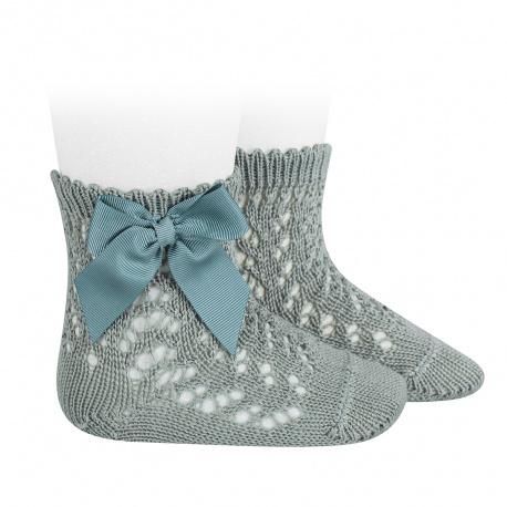 Calcetines cortos de perlé calados con lazo VERDE SECO