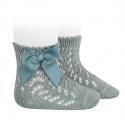Cotton openwork short socks with bow DRY GREEN