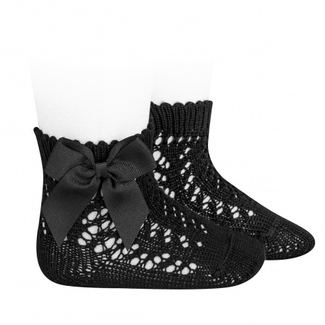 Cotton openwork short socks with bow BLACK