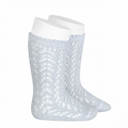 Chaussettes hautes ajourées avec fil brillant ARGENT