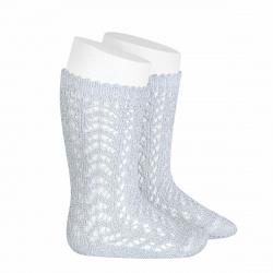 Metallic yarn openwork perle knee socks SILVER