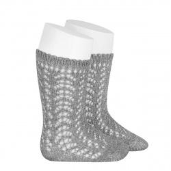 Chaussettes hautes ajourées avec fil brillant ALUMINIUM
