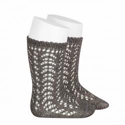Metallic yarn openwork perle knee socks LIGHT GREY