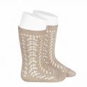 Metallic yarn openwork perle knee socks BEIGE