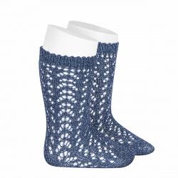 Chaussettes hautes ajourées avec fil brillant BLEU FRANCE