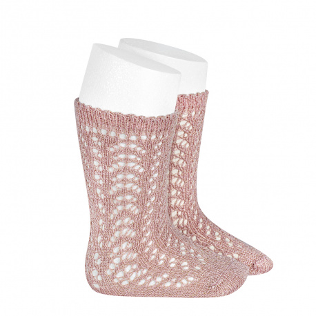 Chaussettes hautes ajourées avec fil brillant VIEUX ROSE