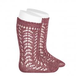 Metallic yarn openwork perle knee socks TAMARISK