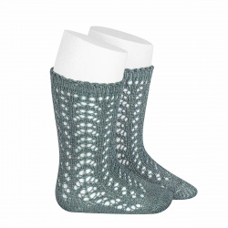 Metallic yarn openwork perle knee socks DRY GREEN