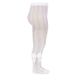 Openwork perle tights with side grossgrain bow WHITE