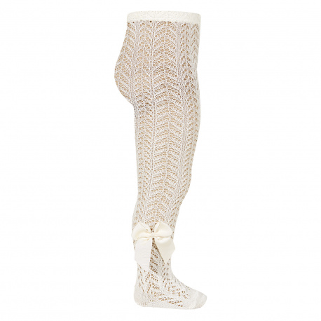 Openwork perle tights with side grossgrain bow BEIGE