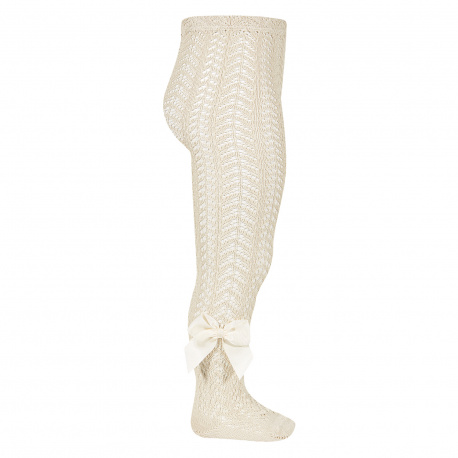 Openwork perle tights with side grossgrain bow LINEN