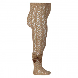 Openwork perle tights with side grossgrain bow CAMEL