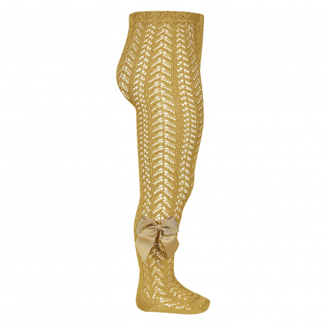 Openwork perle tights with side grossgrain bow MUSTARD