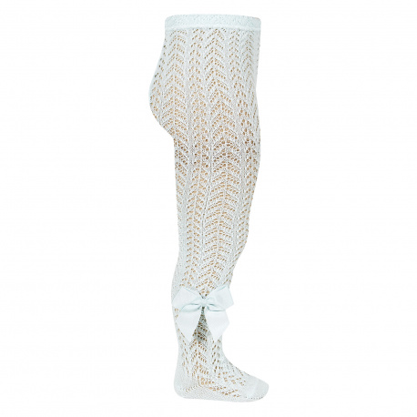 Openwork perle tights with side grossgrain bow AQUAMARINE