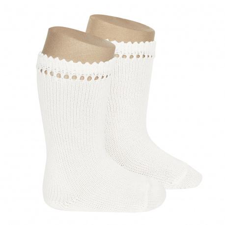 Calcetines altos perlé BLANCO