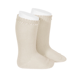 Perle knee high socks LINEN