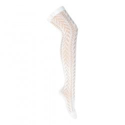 Perle openwork folk stockings