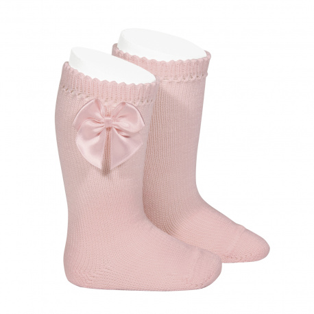Perle knee high socks with bow PALE PINK