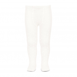 Perle openwork tights lateral spike CREAM