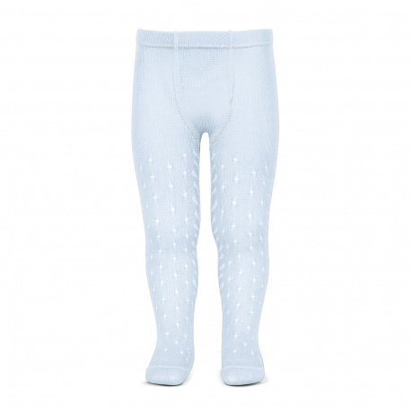 Perle openwork tights lateral spike BABY BLUE