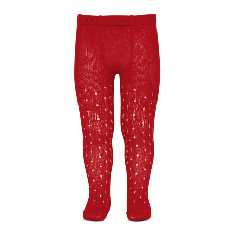 Perle openwork tights lateral spike RED