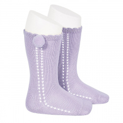 Side openwork perle knee high socks withpompom MAUVE