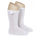 Side openwork perle knee high socks withpompom WHITE