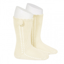 Side openwork perle knee high socks withpompom BEIGE