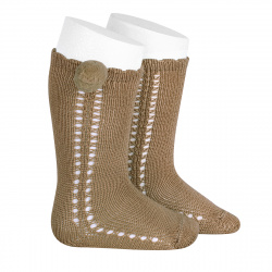 Side openwork perle knee high socks withpompom CAMEL