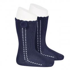 Chaussettes hautes coton ajourée avec pompom BLEU MARINE