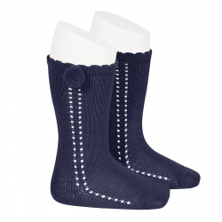 Side openwork perle knee high socks withpompom NAVY BLUE