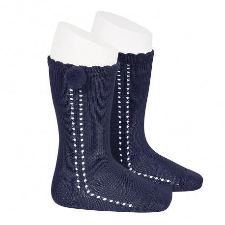Calcetines altos perlé calado con pompón lateral MARINO