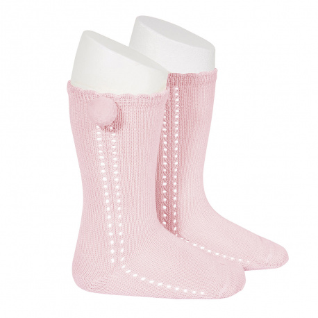 Side openwork perle knee high socks withpompom PINK