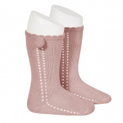 Side openwork perle knee high socks withpompom PALE PINK