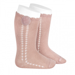Side openwork perle knee high socks withpompom OLD ROSE