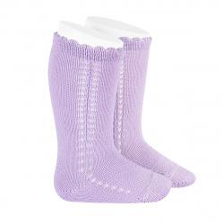 Chaussettes hautes coton ajourée lateral MAUVE