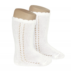 Side openwork perle knee high socks CREAM