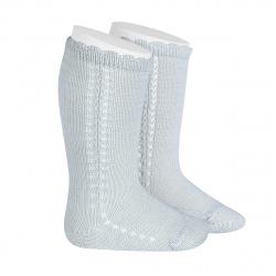 Chaussettes hautes coton ajourée lateral PERLE