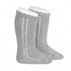 Side openwork perle knee high socks ALUMINIUM