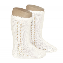 Side openwork perle knee high socks BEIGE