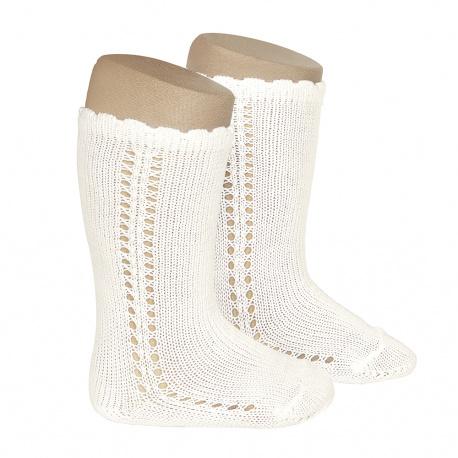 Side openwork perle knee high socks BEIGE