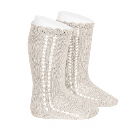 Chaussettes hautes coton ajourée lateral LIN
