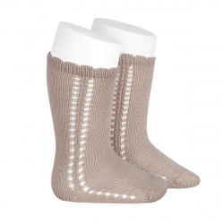 Side openwork perle knee high socks STONE