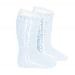 Side openwork perle knee high socks BABY BLUE