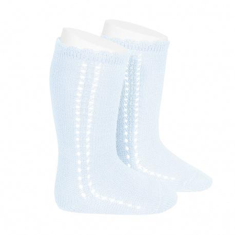 Chaussettes hautes coton ajourée lateral BLEU BEBE