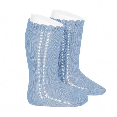 Calcetines altos perlé calado lateral AZULADO