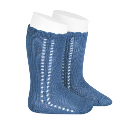 Side openwork perle knee high socks FRENCH BLUE