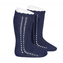 Chaussettes hautes coton ajourée lateral BLEU MARINE