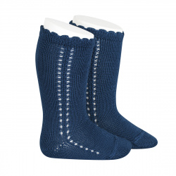 Side openwork perle knee high socks ATLANTIC