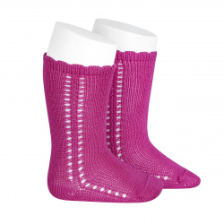 Side openwork perle knee high socks BUGAMBILIA